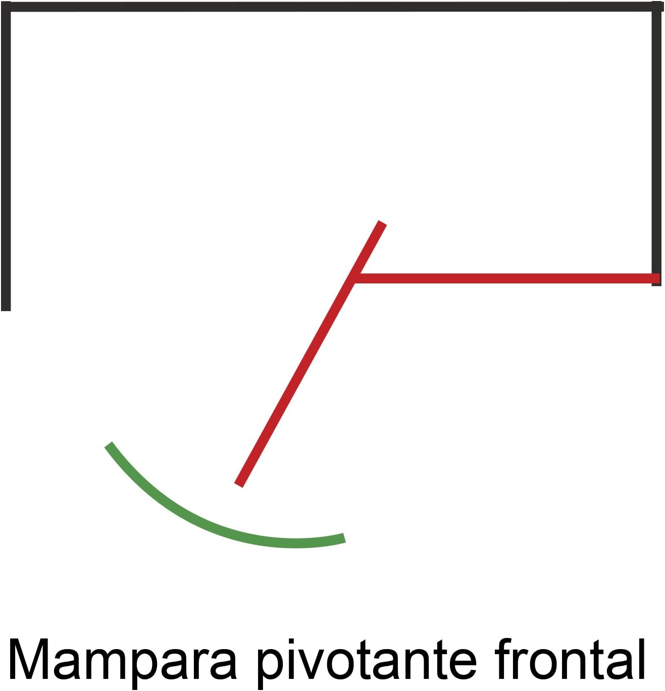 Mampara AURA Pivotante Frontal - 1 Hoja FIJA + 1 Hoja PIVOTANTE ...