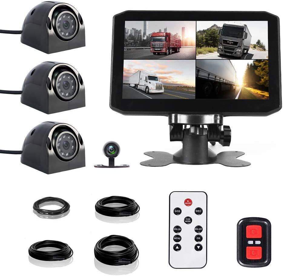 VSYSTO Truck Dash Cam Backup Camera Recorder DVR 7.0'' Quad Split Monitor with Front/Rear/Side 4CH Cameras Infrared Night Vision Waterproof Rear View for Trailer/Bus/RV/Pickups/Camper