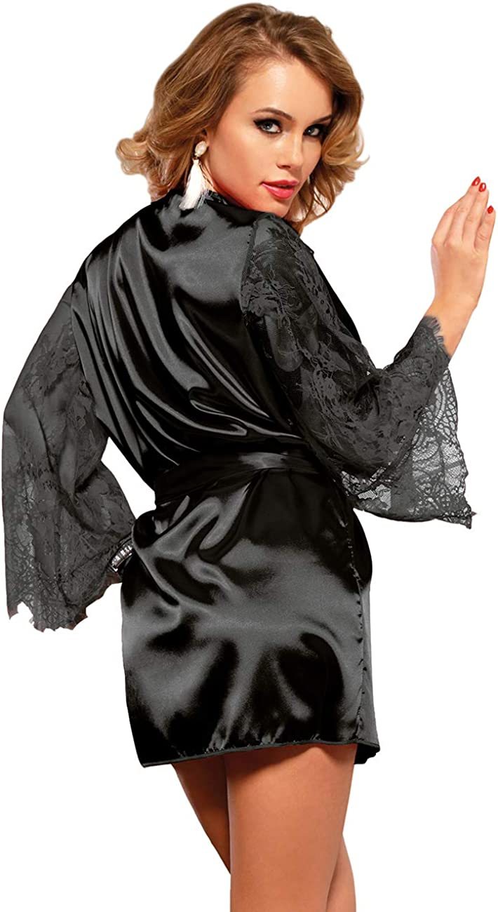 ohyeahlady Mujer Bata Kimono Seda Corto con Manga Larga de Encaje con Cintur/ón y Tanga Ropa de Dormir Bata Sat/én