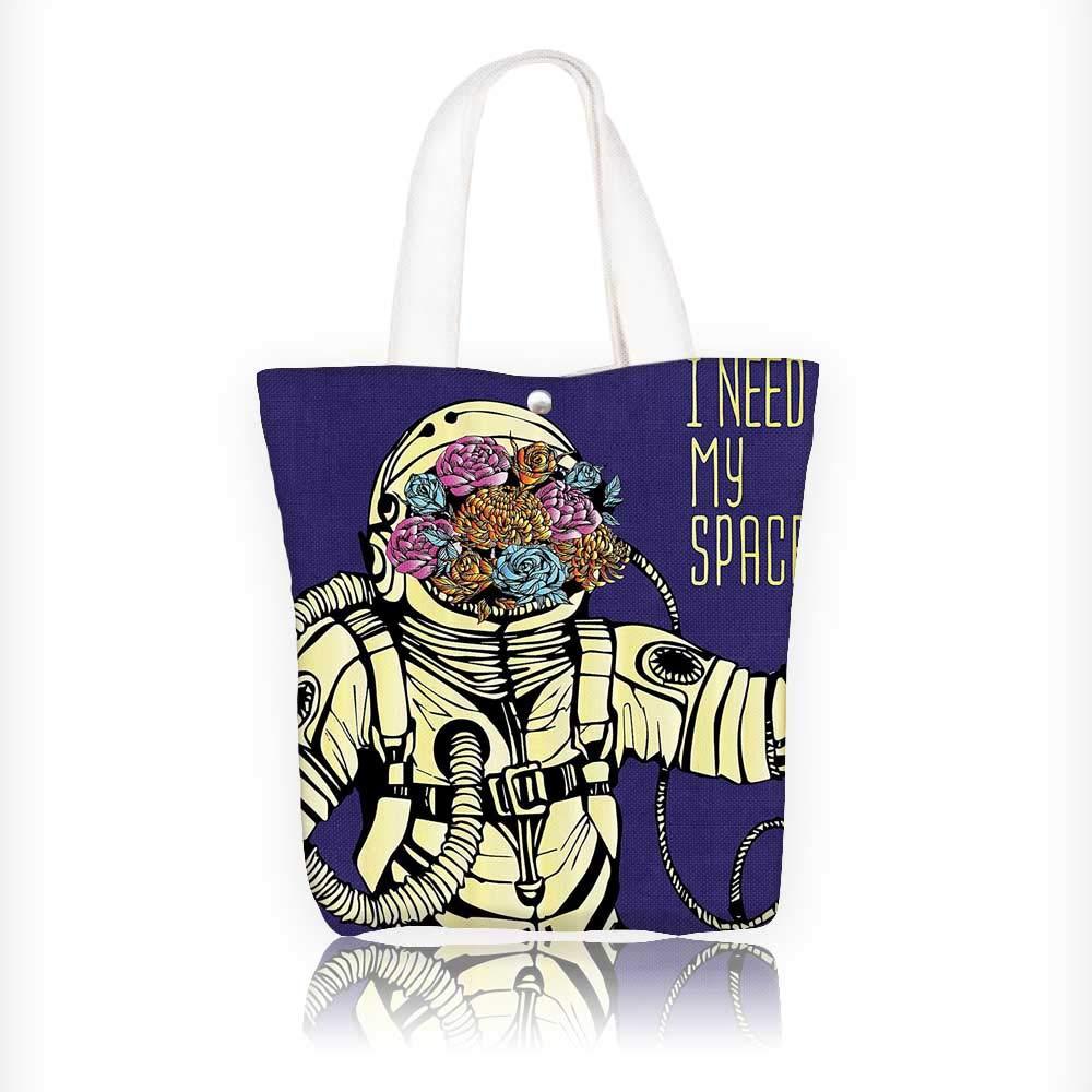 Reusable Cotton Canvas Zipper bag Floral Cosmaut Man in Spacesuit Solar System Alien ComCarto Tote Laptop Beach Handbags W16.5xH14xD7 INCH