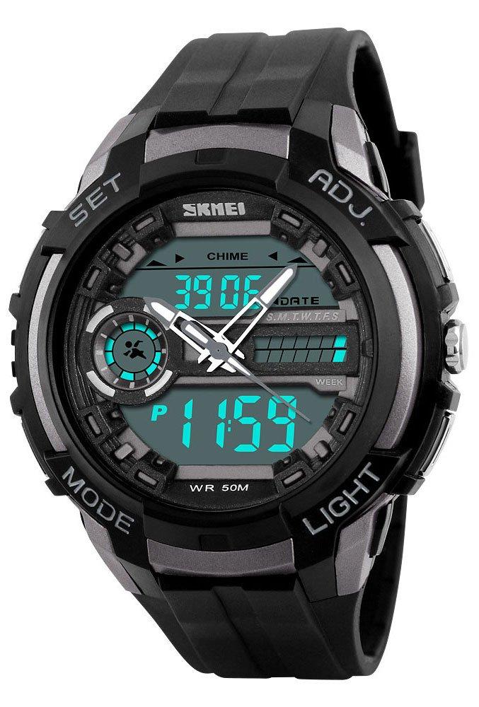 Men 'sアナログデジタルデュアル表示LED腕時計Military多機能防水スポーツ腕時計 チタン B0757T2DCF チタン チタン