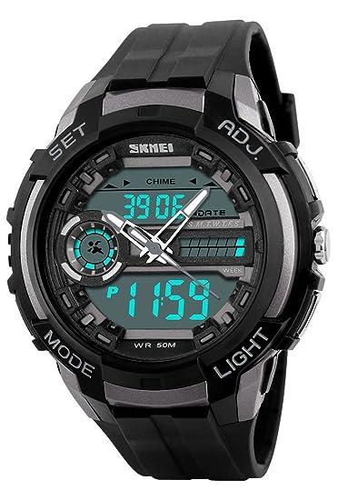 Los hombres de doble pantalla LED Digital Analógico Relojes militares multifuncional impermeable Deporte Reloj de pulsera