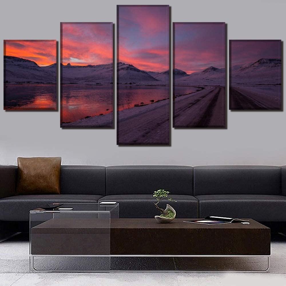 Decoración Moderna Arte de la Pared del hogar 5 Piezas Snow Mountain Sunset Landscape Lake Canvas Painting Work Picture Print Modular Poster: Amazon.es: Hogar
