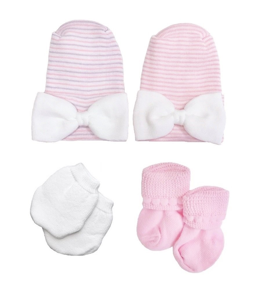Newborn Baby Girls Pink Hat Set Includes 2 Bow Hats, Socks, Mittens by Nurses Choice
