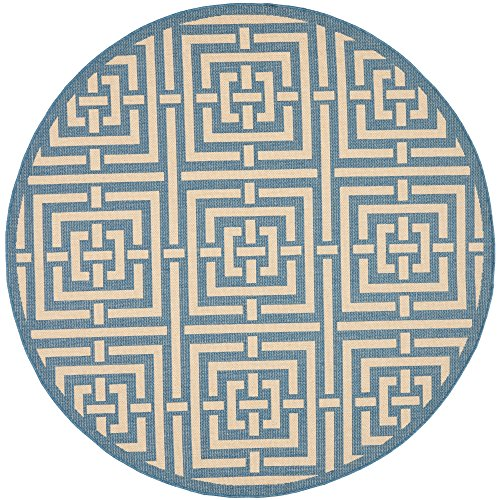 Safavieh Courtyard Collection CY6937-23 Blue and Bone Indoor/ Outdoor Round Area Rug (6'7