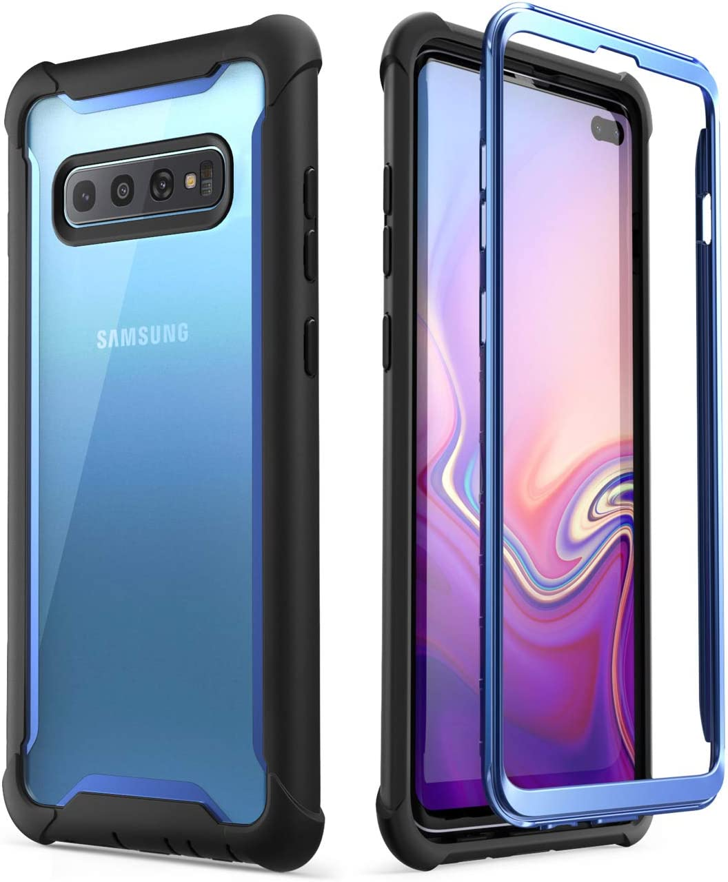 i-Blason Ares Series Designed for Galaxy S10 Plus Case Rugged Clear Bumper Case Without Built-in Screen Protector for Samsung Galaxy S10 Plus 2019 (Blue)