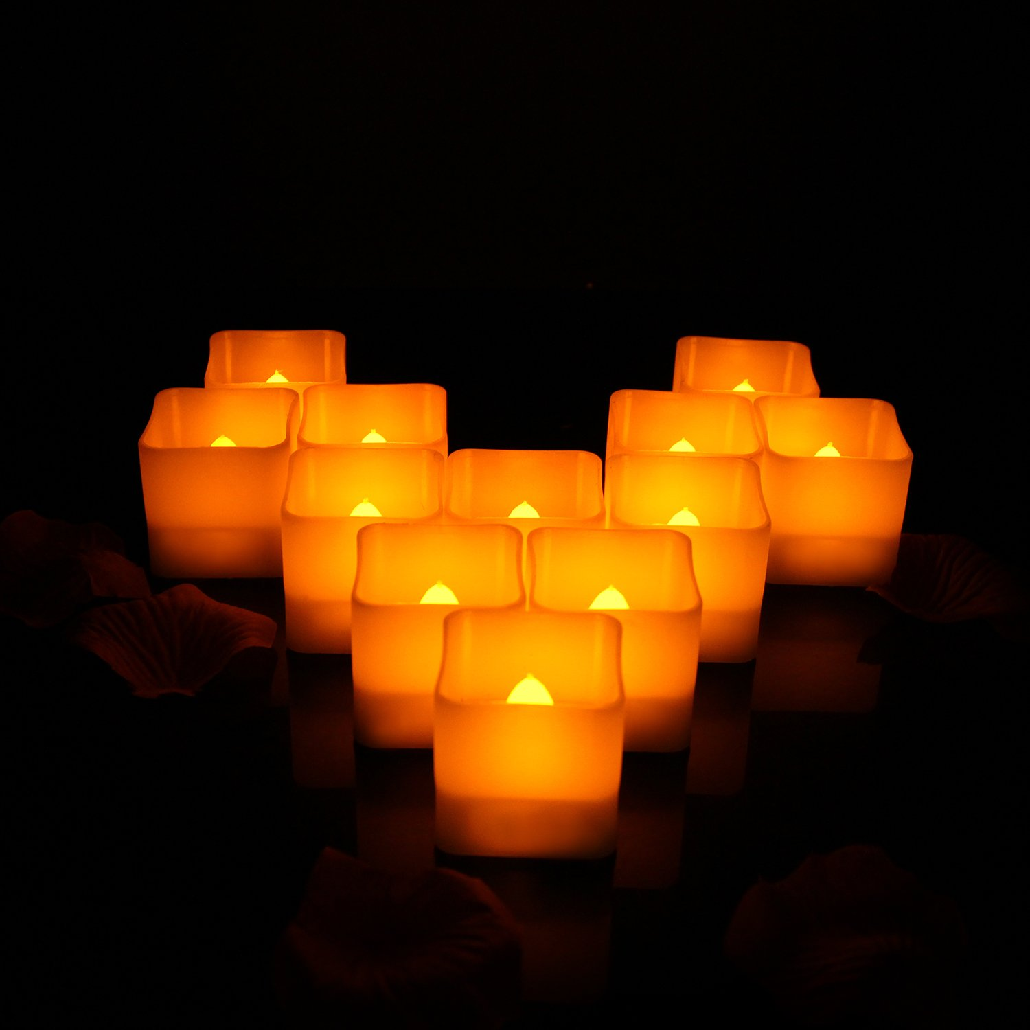 Horeset 12pcs Flameless Candle Yellow Plastic Flickering LED Tea Lights Faux Square Battery Operated Electric Lights, Fake LED candle for Home Decor, Weddings, Birthday, Home Party Gifts(S/M/L)