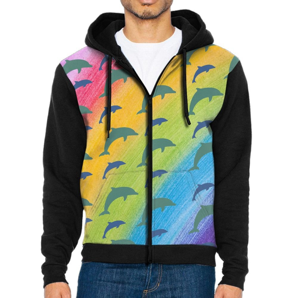 Fengyaojianzhu Dolphin Design Men Black Sports Long Sleeve Hoodies Sweatshirts With Pocket