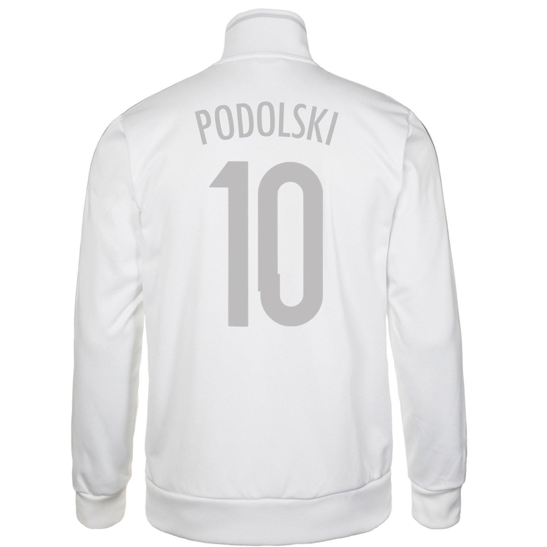 Adidas Podolski #10 Germany Men's Track Top (White-Silver)/サッカー トレーニングジャケット ドイツ ポドルスキ 背番号10 B010VYG8R8Medium