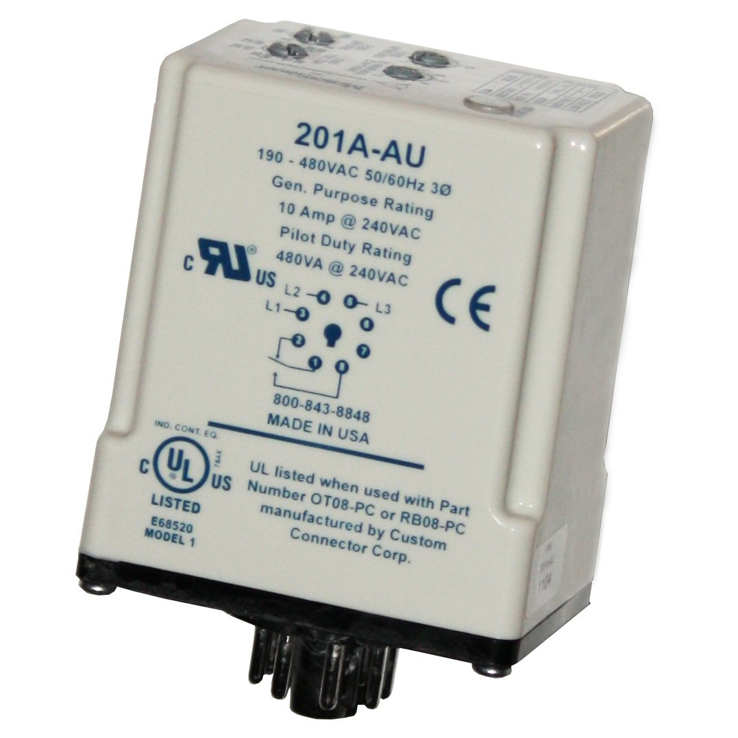 8-Pin Octal Base Variable Trip Point Symcom MotorSaver 3-Phase Voltage Monitor Restart Delay 190-480V and Voltage Unbalance Trip Delay Model 201A-AU