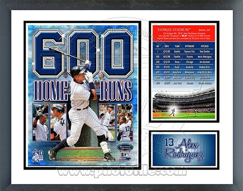 Alex Rodriguez 600th Career Home Run Milestones & Memories Framed Photo ()