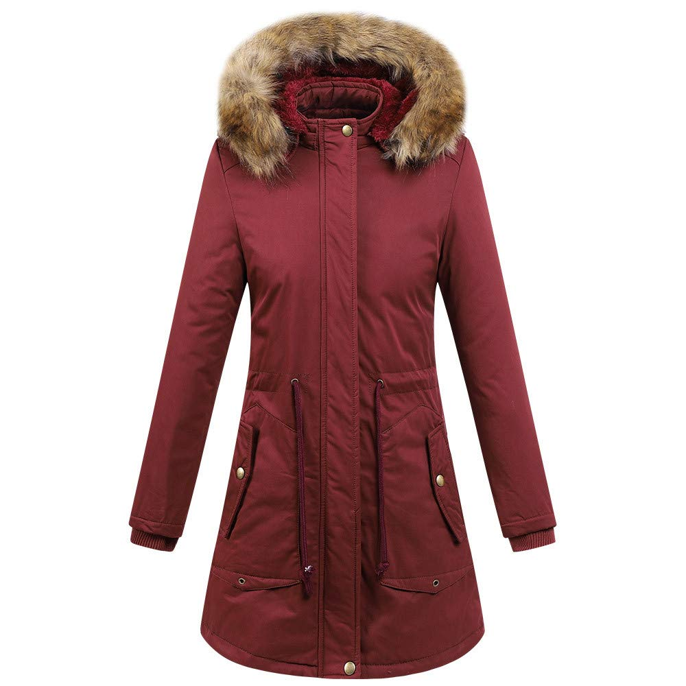 UONQD Womens Faux Fur Winter Jacket Parka Hooded Coat Fishtail Overcoat (Large, Red)