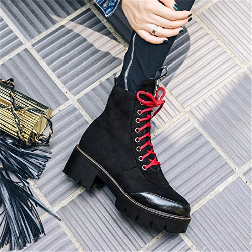 cortas patios Invierno e botas ocio Otoño grandes soles grandes Martin black y botas encajes ups 8xUfOfw