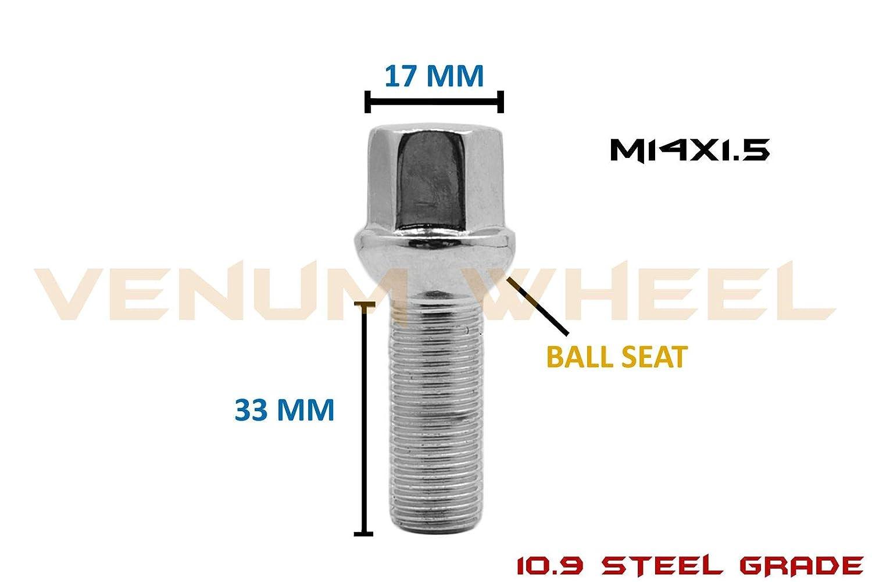 Venum wheel accessories 1 Pc M14x1.5 Ball Seat 33 mm Extended Shank Chrome Lug Bolt Works with Volkswagen Audi Mercedes Benz Porsche Vehicle W//Factory Wheels