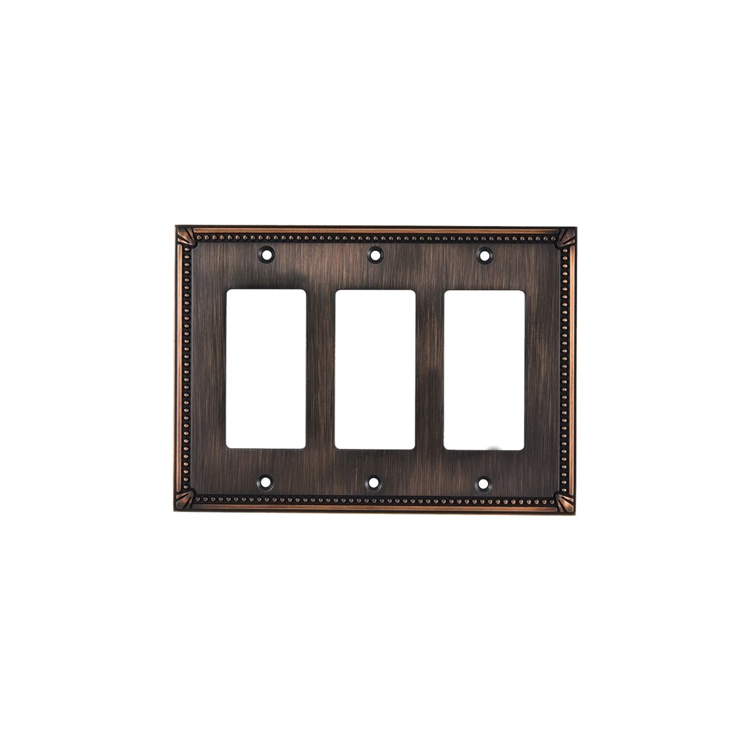 Rok Hardware Wall Light Decora Switch Plate Rocker Toggle GFCI Cover Traditional Brushed Oil-Rubbed Bronze 3 Gang