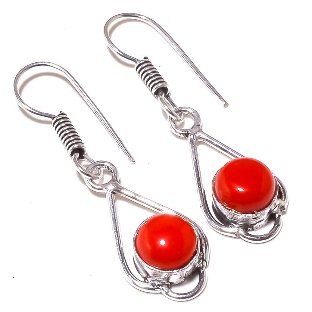 Wonderful Red Coral Sterling Silver Overlay 5 Grams Earring 1.75 Long