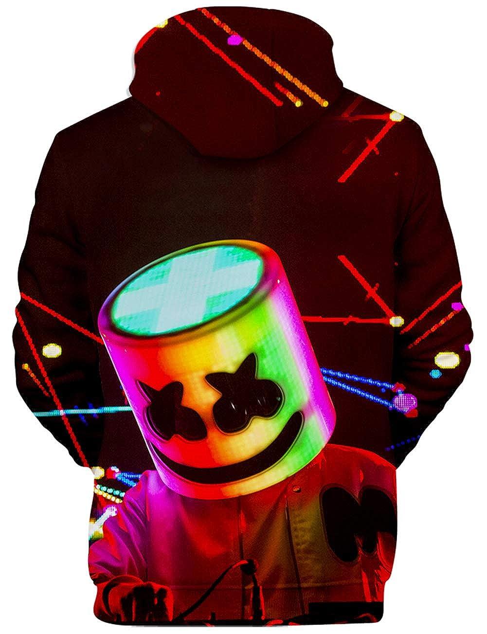 Sudadera para Hombre Estilo 3D Impresión Gráfica Marshmello DJ Sonido Eléctrico Cool EDM Manga Larga (3XS=2XS)