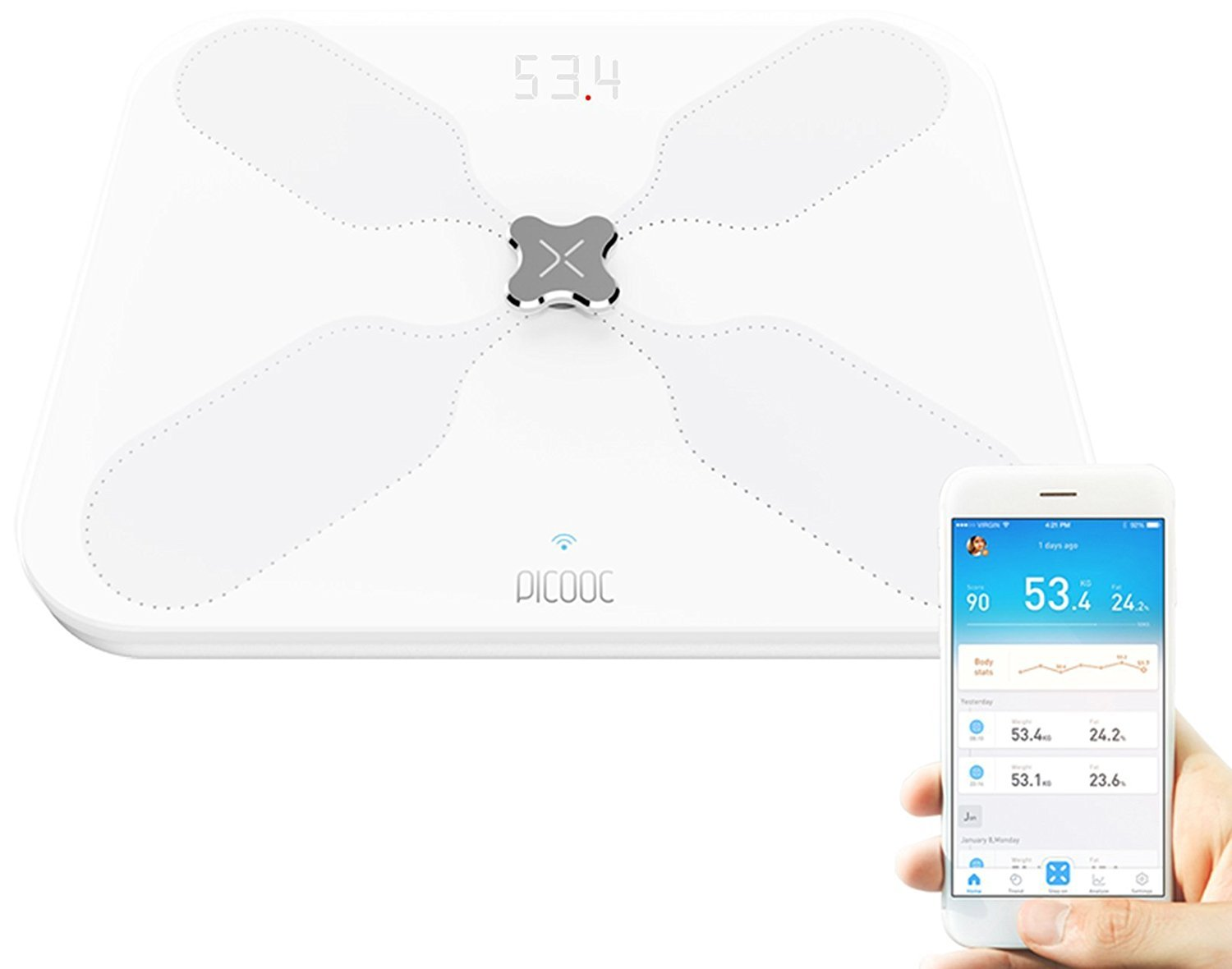 Picooc Wi-Fi and Bluetooth Smart Digital Body Weight Scale, White