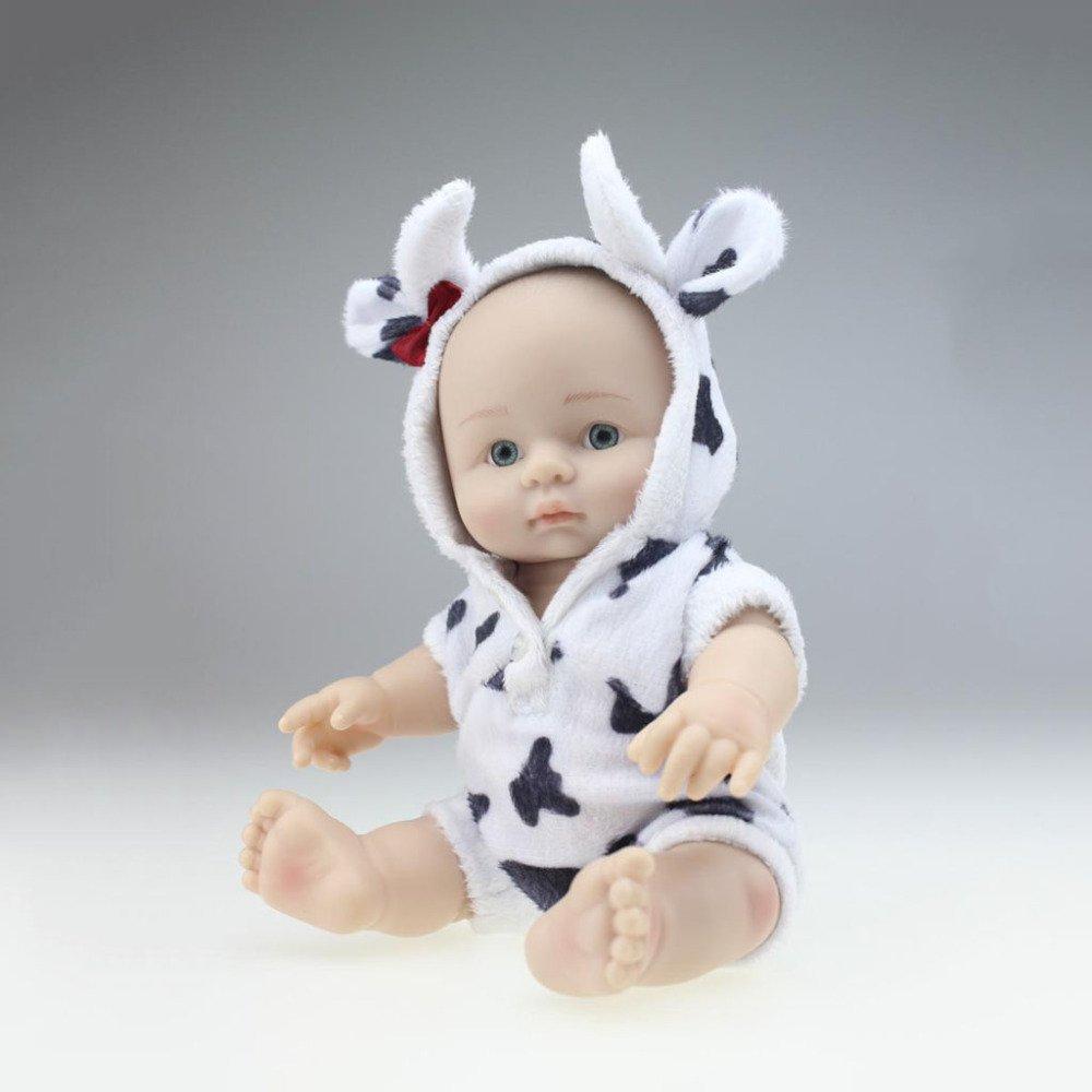 QXMEI 10 10 10 Zoll Puppe Niedlichen Tier Kleidung Kinder Spielzeug Realistische Handgemachte Baby Spielzeug 25 cm,BlackWhiteCow d041b3