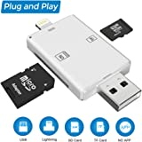 SD Card Reader Adapter, USB Card Reader, 2 in 1 Lightning & USB Memory Card Reader Camera Viewer for TF/SD Card, Support iPhone & PC & Laptop(NO App Needed)