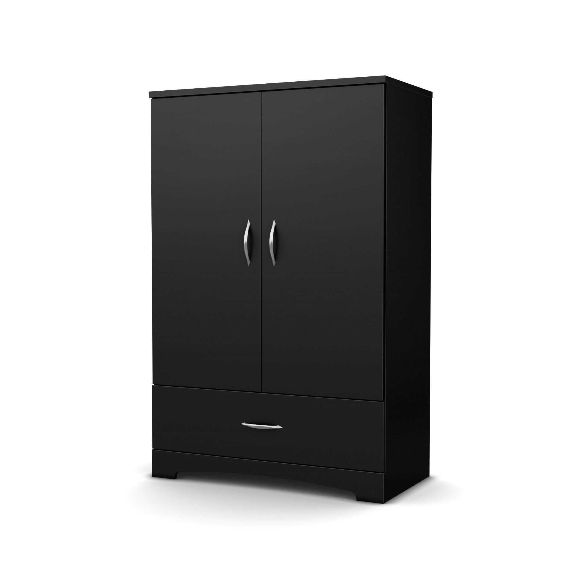 South Shore 2-Door Armoire with Adjustable Shelves and Storage Drawers, Pure Black by South Shore