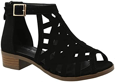 2225c427b4ea TOP Moda Jerry-82 Women s Open Toe Buckle Strap Low Chunky Block Heel  Cutout Gladiator