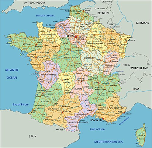 Gifts Delight Laminated 24x24 Poster: Political Map of France 2013 - The Image Kid Has It