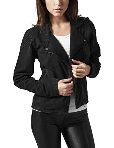 Urban Classics Ladies Acid Wash Terry Biker Jacket, Chaqueta para Mujer