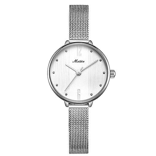 OLI Queen Reloj de Pulsera Mujer Reloj Acero Inoxidable Plata Milanaise de Pulsera de Malla Banda de Metal Pulsera Blanco Reloj de Cuarzo para Mujer Chica ...