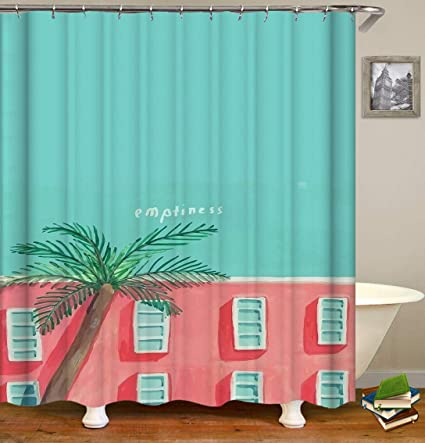 BARTORI Bathroom Decor Shower Curtain The Childern Drawing Pink Building And Tiffany Blue Sky A Palm