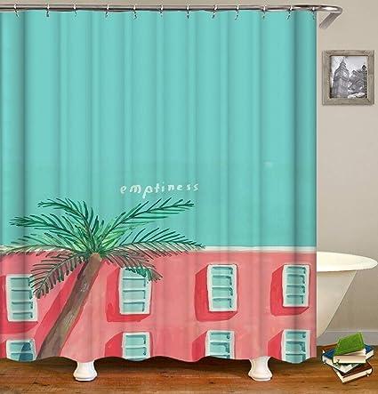 d4a529ba8d5 BARTORI Bathroom Decor Shower Curtain The Childern Drawing Pink Building  and Tiffany Blue Sky A Palm