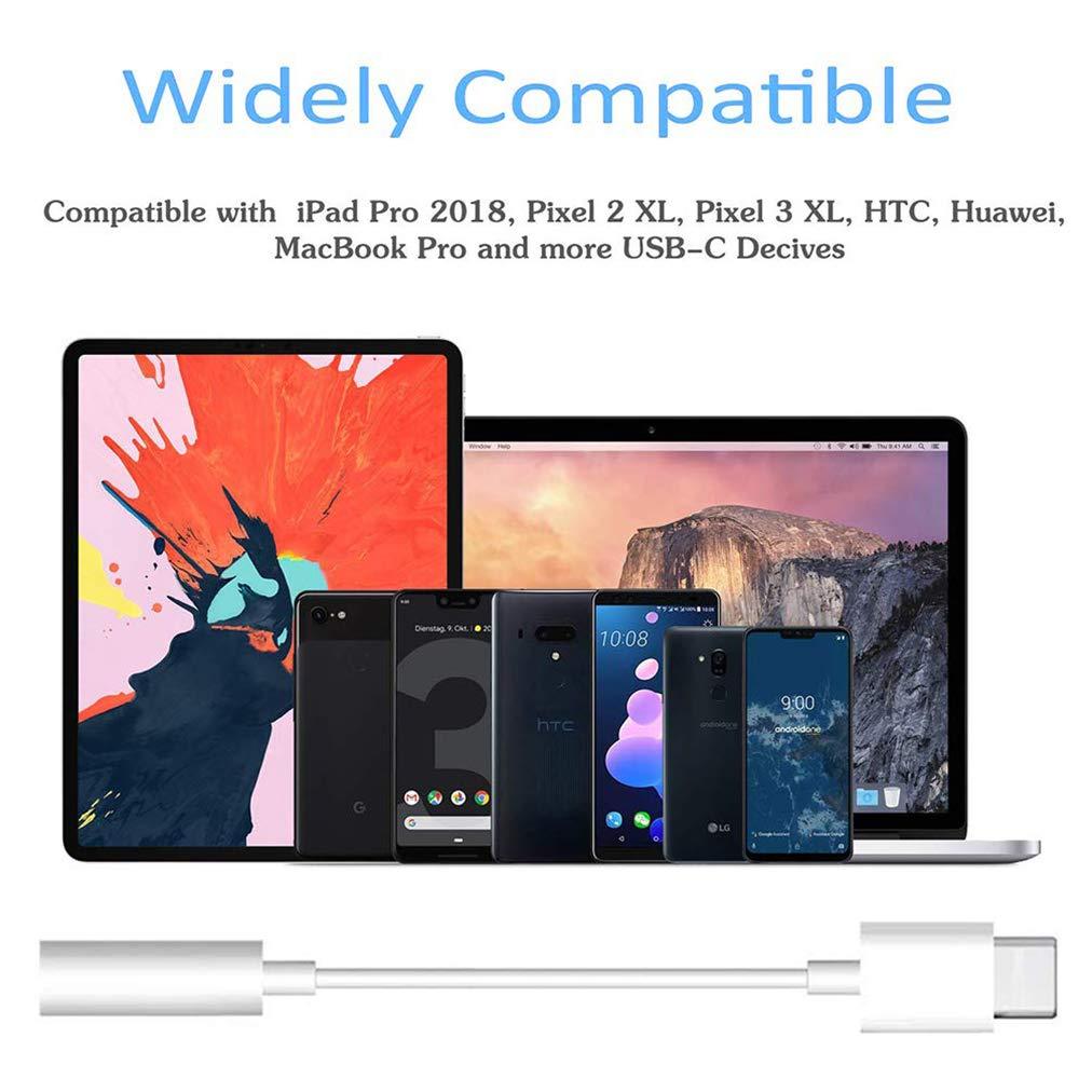 Adaptador Auriculares Audio Adaptador Jack 3.5 MM para Huawei Mate 20//Lite//Pro//P20//Mate10 Blanco Xiaomi Mi A2//Lite//8//8 Se//Mix2 Moto Z3//Z2 Dongle Aux Audio Est/éreo Adaptador de Conector Splitte