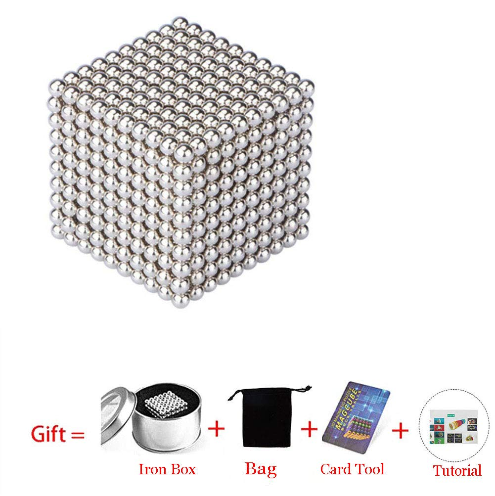 Magnetic Cube 216/512/1000pcs 5mm Magnets Blocks Magnetic Square Cube Children's Puzzle Magic Cubes DIY Educational Toys for Kids Intelligence Development and Stress Relief (1000pcs Silver)