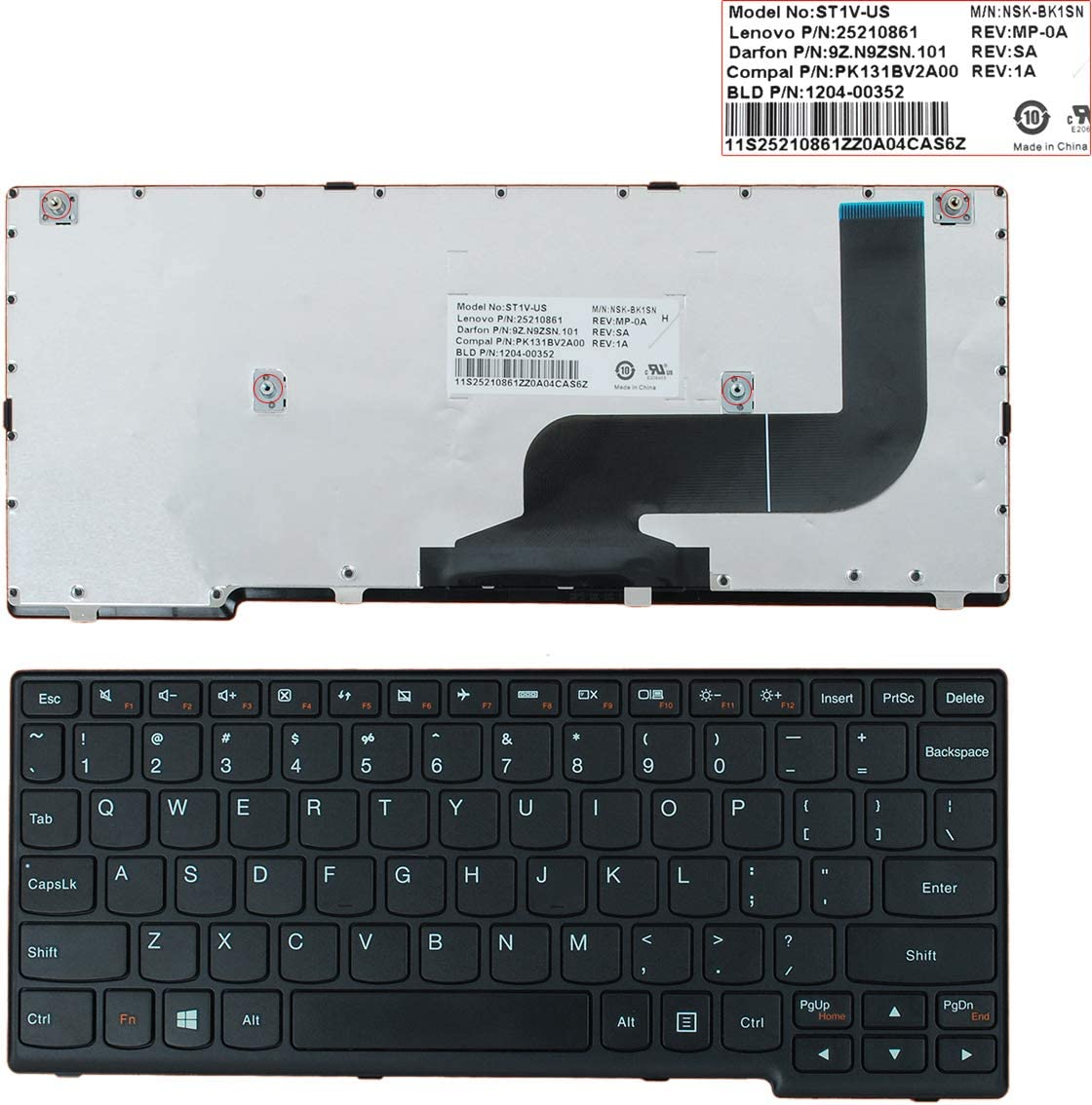 for Win8 Laptop Replacement Keyboard for Lenovo Yoga 11S Black Frame Black