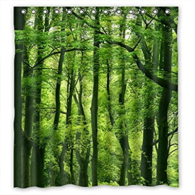 Beautiful Fresh Green Forest Fabric Shower Curtain 66(W)X72(H)