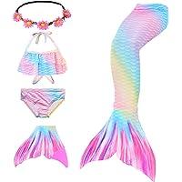 Traje de baño de Cola de Sirena para niñas 5 Piezas Bikini Conjuntos de Traje de baño con Diadema de Flores y monoaleta…