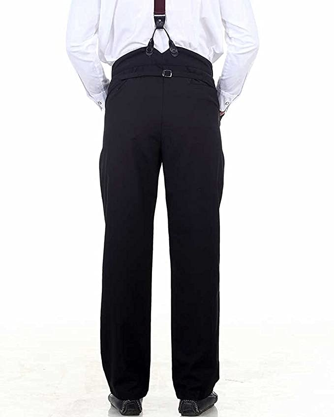Edwardian Men's Fashion & Clothing  High Waisted Trouser Costume C1331 [Black] ThePirateDressing Steampunk Victorian Gothic Punk Vampire �30.95 AT vintagedancer.com