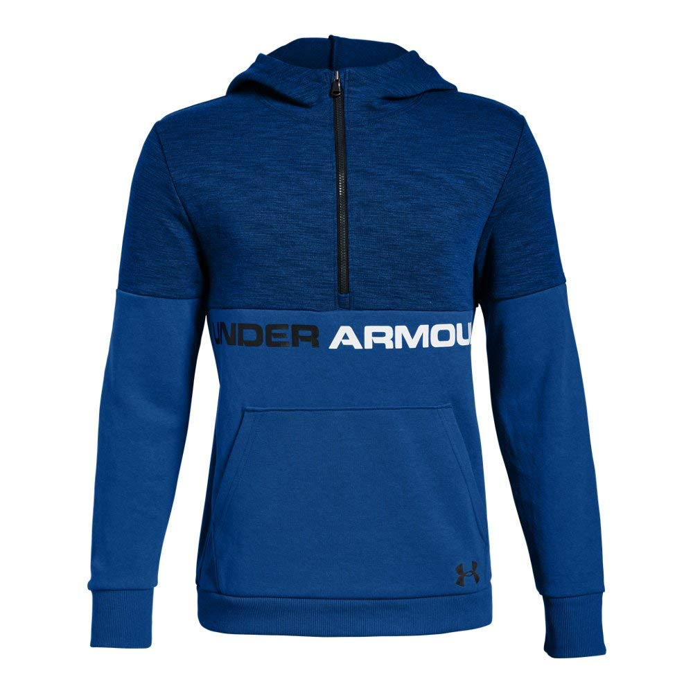 Under Armour Boys Double Knit 1/2 Zip Hoodie, Royal (400)/Black, Youth X-Large by Under Armour