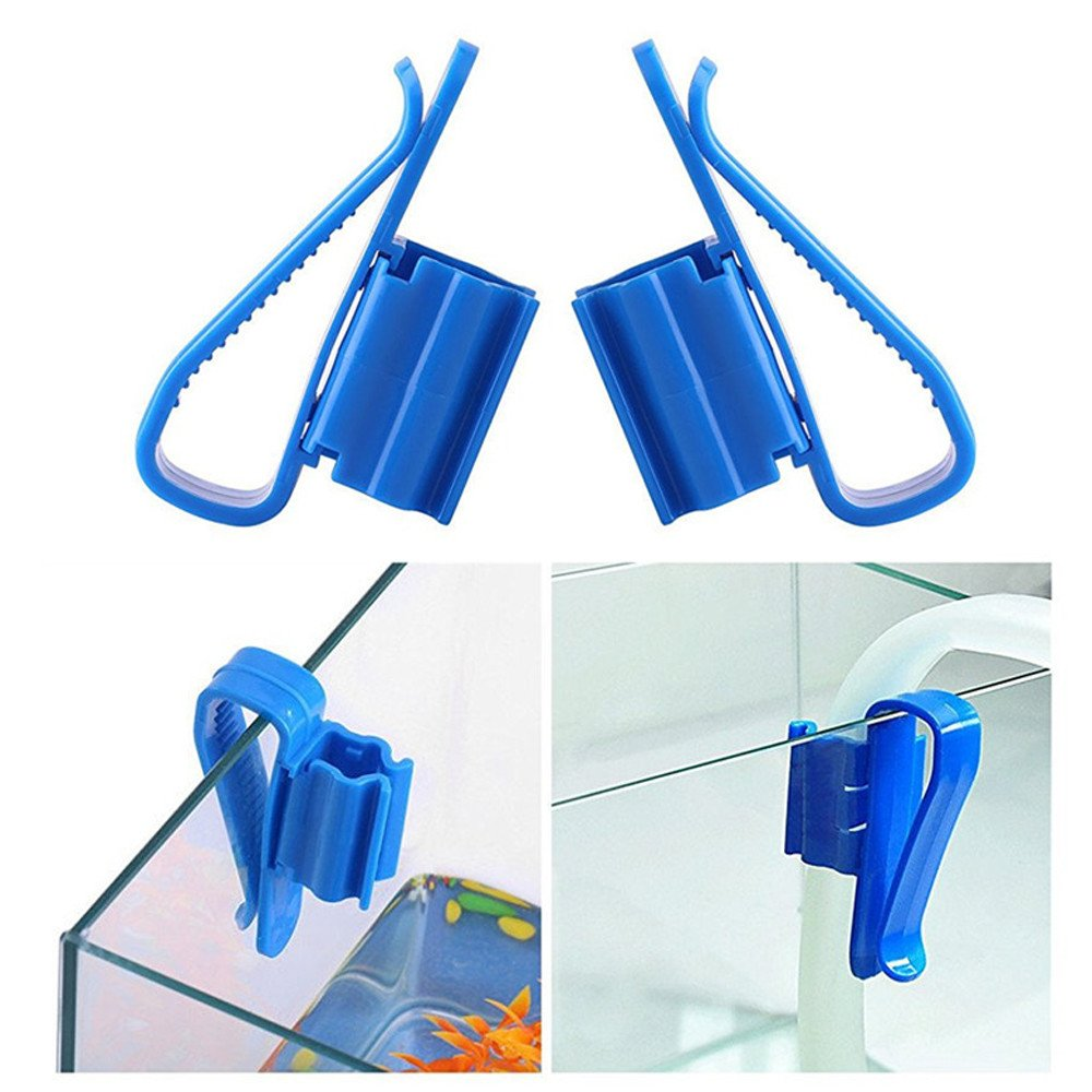 Aquarium Tube Clip Mount Holder - 2 Pcs Plastic Aquarium Tank Water Pipe Clamp Hose Tube Rod Fixing Clip Mount Holder