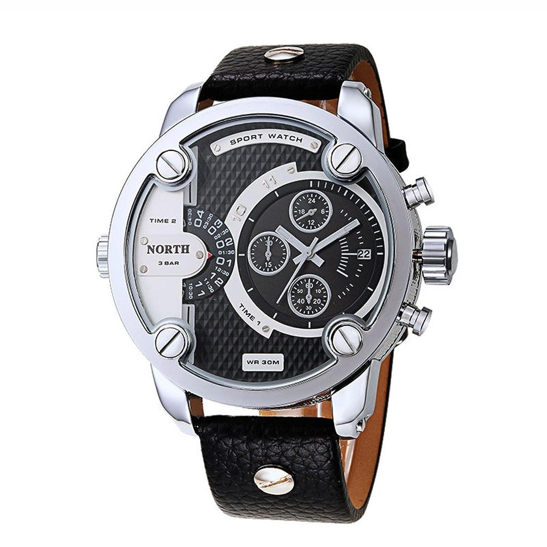 ファッションビッグフェイスメンズクォーツ腕時計高級レザーストラップ小さな装飾ダイヤルwaterproofueカジュアル腕時計 ブラック B01N7I3NDK