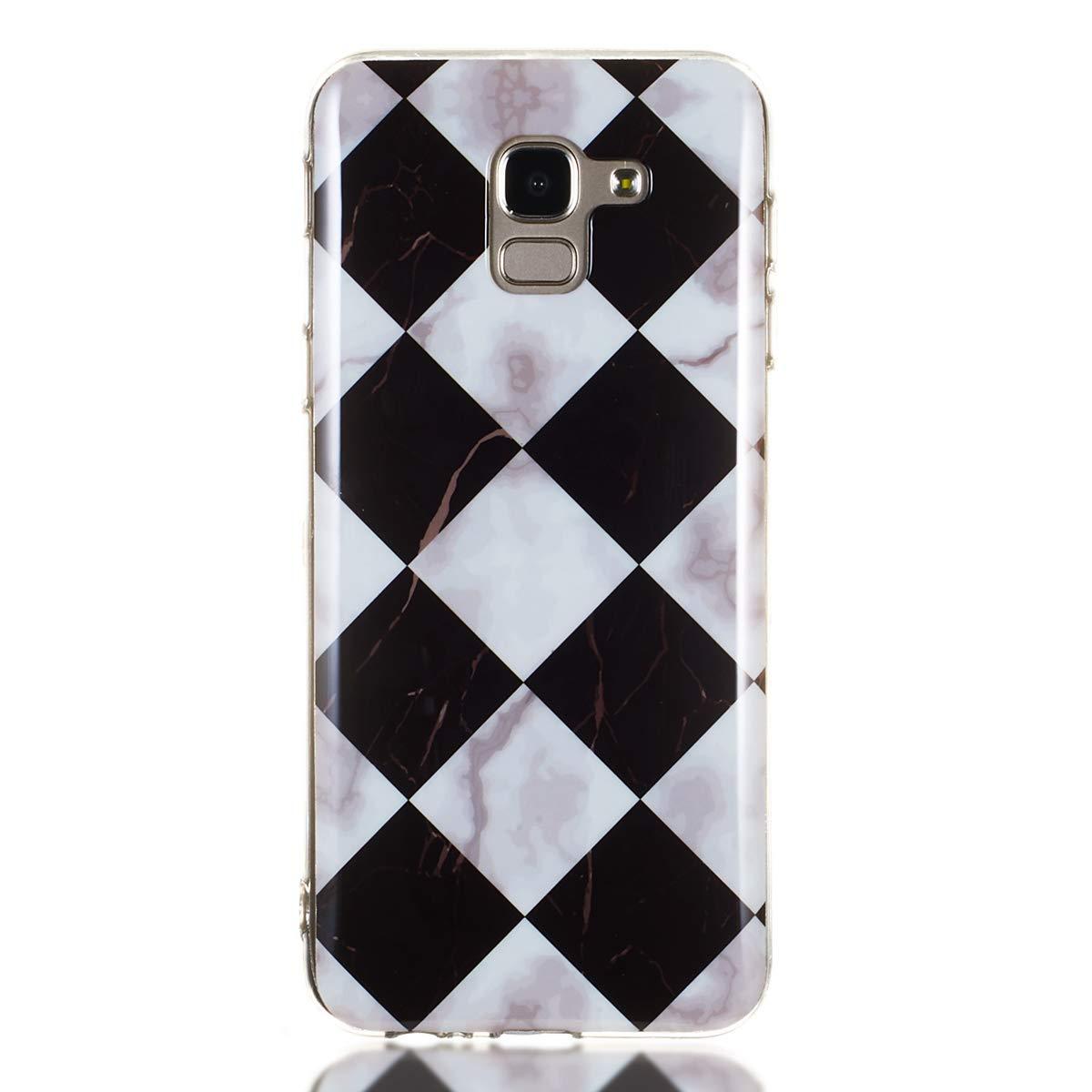 Triangle Noir Misstars Coque en Silicone pour Samsung Galaxy J6 Plus 2018 Marbre Ultra Mince TPU Souple Flexible Housse Etui de Protection Anti-Choc Anti-Rayures Bumper