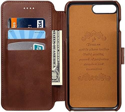 Samsung Galaxy S8/S8 Plus Case Genuine Leather Wallet Phone Case Flip Folio Kickstand