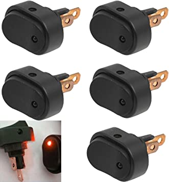 Etopars 4 X Car Motor Auto Push Button Rocker Toggle Switch 12V 20A Blue Red Green Yellow LED Light