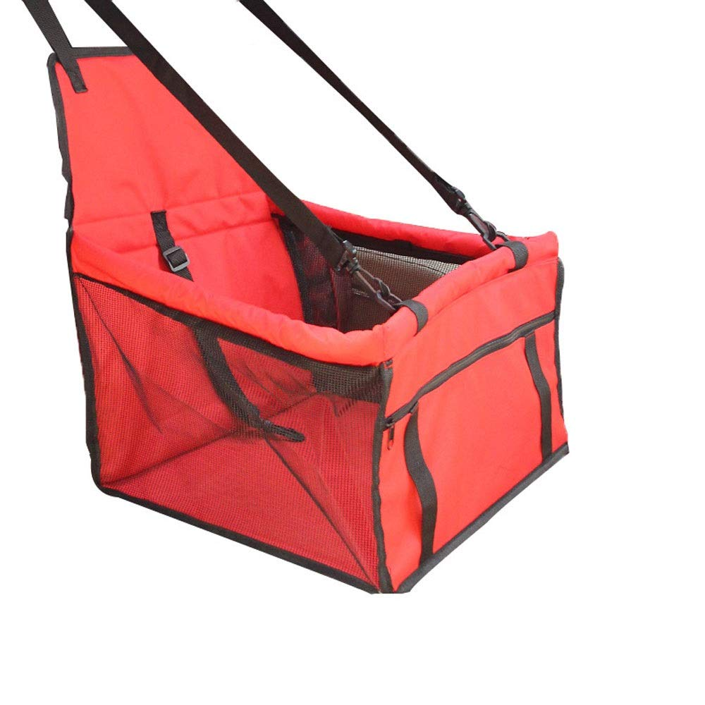 Red Booster Seat Pet Car Seat Carrier Predector Portable Foldable Carrier with Seat Belt Storage Package Dog Pet Mat Scratch Pad Waterproof Candtong (color   Red)
