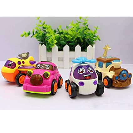 Cute Bright Color Moving Parts Mini Vehicle 1 Year Old Baby Push And Go Toy Unbreakable Friction Car For Kids Best Birthday Return Gift Random