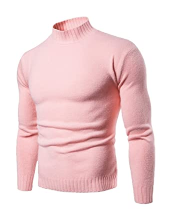 7cc1a13ea Aden Mens Winter Warm Roll-Neck Long Sleeved Slim Pullover Sweater Knitted  Jumper Pink XXL: Amazon.co.uk: Clothing