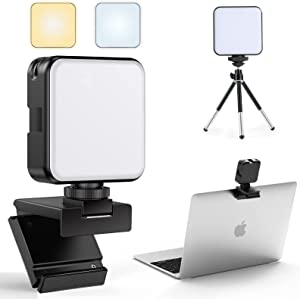 FDKOBE Video Conference Lighting Kit with Tripod and Webcam Style Mount for Laptop/Computer, Webcam Lighting for Remote Working, Zoom Calls, Zoom Lighting, Live Streaming, for Mac, Monitor