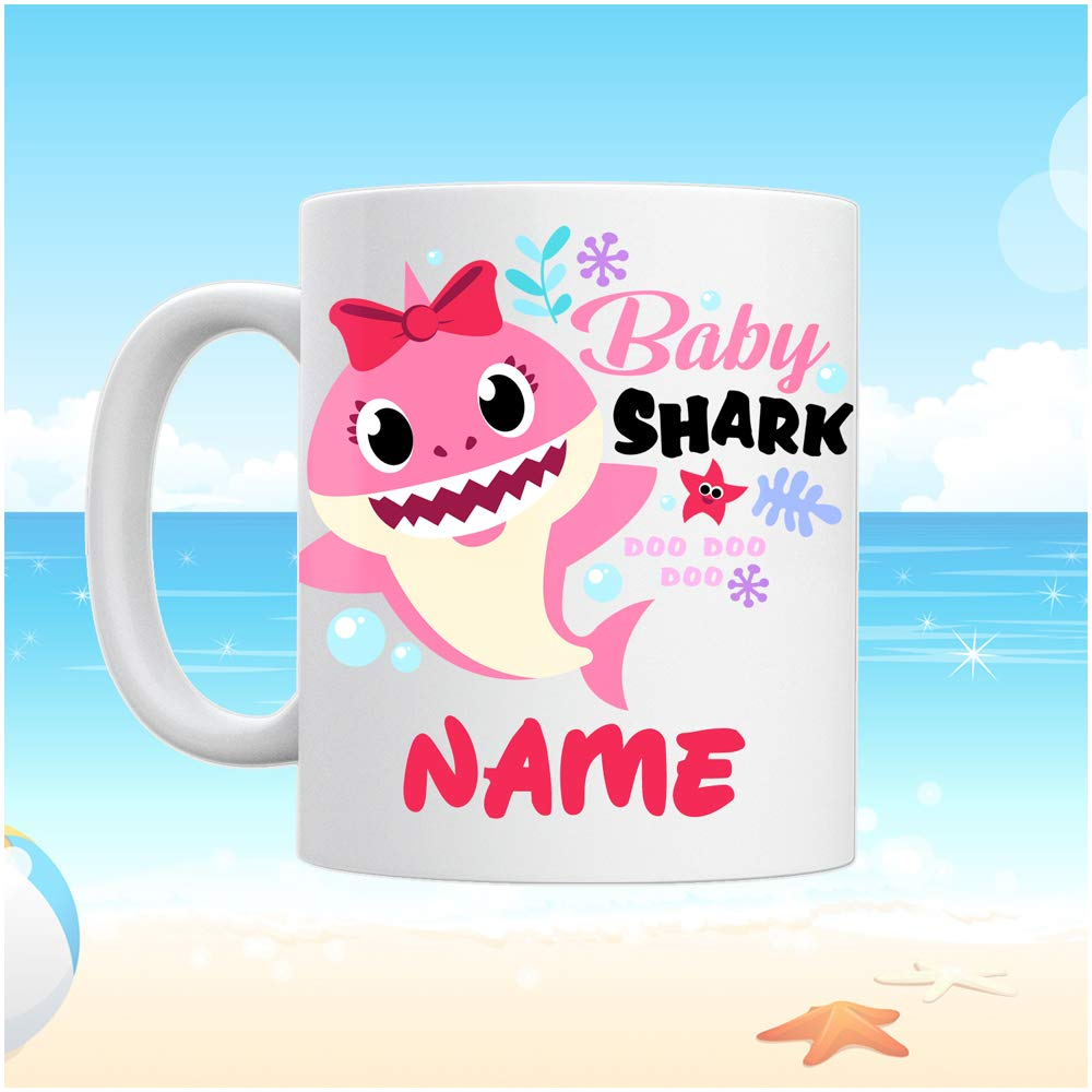Personalised Gift Baby Shark Mug Cute Tea Cup Family Novelty Cup Add Name Auntie Shark