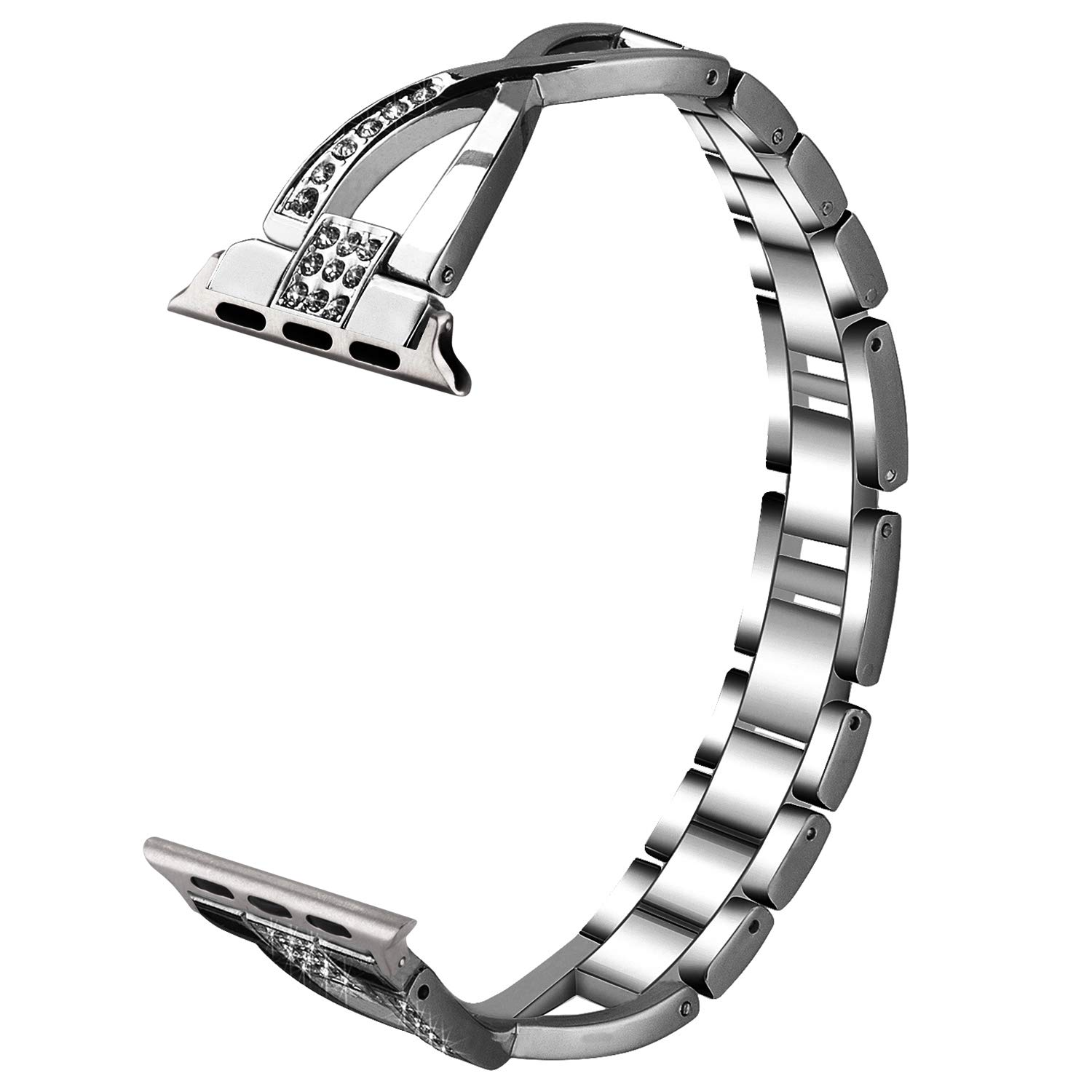 VIQIV Stainless Steel Bling Bands for Apple Watch 38mm 42mm Iwatch Series 3, Series 2, Series 1, Diamond Rhinestone Bracelet Wristband Strap for Women