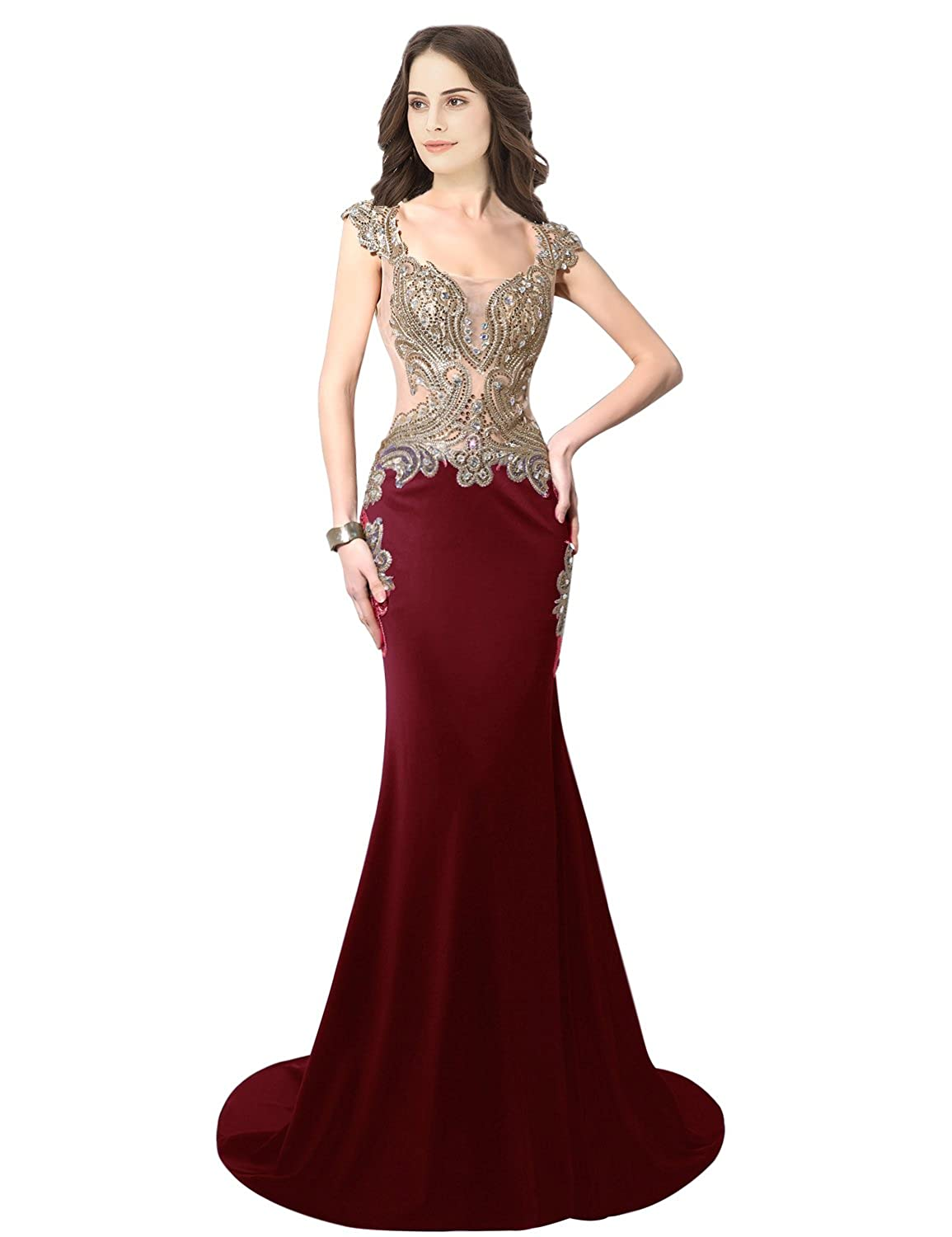 003burgundy Sarahbridal Women's Mermaid Evening Ball Dress 2019 Formal Long Prom Gowns